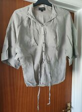 Womens size 34 (10) Claudia Strater Grey Ramie shirt half sleeved bat wing