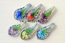 Wholesale Lots 12Pcs Leaf Flower 3D Murano Glass Pendant Fit Necklace FREE