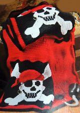 Crochet Pattern PIRATE AFGHAN THROW Skull & Crossbones BUCCANEER Jolly Roger