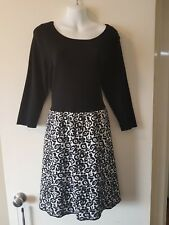 Genuine Quality Monsoon Black n White Knit Winter Dress Sz 16 NEW