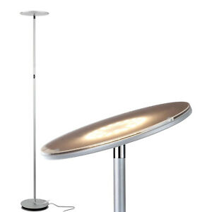 Brightech Sky Flux LED Torchiere Bright Standing Touch Sensor Floor Lamp, Silver