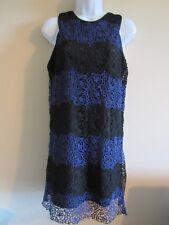lucy paris nwt sz M  royal blue black rose lace black slip dress sleeveless