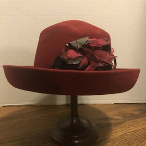 "Beautiful Vintage Luciano Berni Ladies 7 1/2"" Italian Wool Sunday Church Hat"