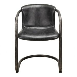 """21"""" W Set of 2 Dining Chair Antique Black Top Grain Leather Iron Frame"""