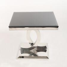 Kaffetisch Beistelltisch Glastisch Couchtisch Edelstahl Chrom Modern Glamour