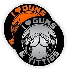 I Love Guns and Tittie$ Funny Sexy Hard Hat Stickers | Motorcycle Helmet Decals