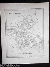 Original Antiquarian Map of Worcestershire, c1850 - Worcester, Tewkesbury, etc