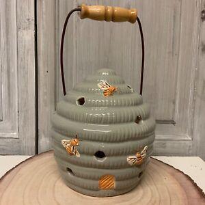 Ceramic Bee Hive Candle Holder Lantern Tea Light Grey Yellow Handle