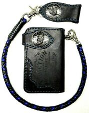 Biker Chain short Wallet motorcycle trucker Buffalo leather engraved blue stitch
