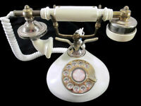 Vintage Princess Rotary Dial Phone Ivory Brass French Provincial Collectible!