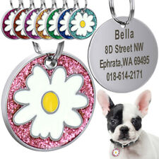 Flower Personalized Dog Tags Puppy Cat Customized ID Nameplate Laser Engraving