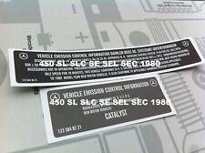 Mercedes R107 C107 450SL  W116 1980  Stickers set EMISSION CONTROL INFORMATION