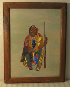 OIL ON CANVAS PAINTING OF NATIVE AMERICAN CHIEF SEATED BY BEN LINVILL #2