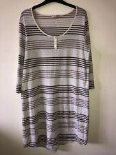 Per Una Jersey Dress/ Long Top Beige Stripes Size 16