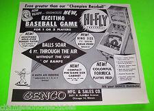 Genco HI FLY BASEBALL 1956 Original NOS Pinball Machine Pitch & Bat Sales Flyer