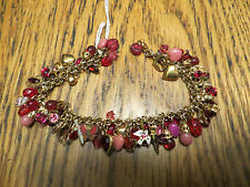UNIQUE Handcrafted Charm Bracelet Some Vintage Gold Fill Hearts Red Pink Enamel