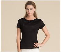 Women's 100% Pure Silk Knit Drape Neck T-Shirts top blouse 6 colors L-3XL