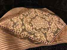 Luxury Designer Chenille Tuscan Olive Taupe Embellished King Pillow Sham 21 X 36