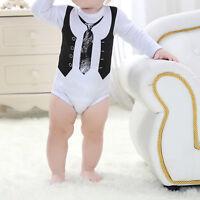 Newborn Toddler Kids Baby Boy Gentleman Jumpsuit Romper Bodysuit Outfits Clothes