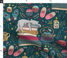Hygge Hygge Home Decor Cat Book Bunny Slippers Fabric Printed by Spoonflower Bty