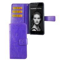 Schutz Hülle Blumen für Handy Huawei P10 Plus Violett Wallet Cover Case Etuis