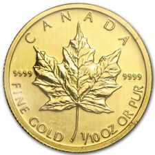 1/10 oz Gold Maple Leaf 5 Dollar Kanada Goldmünze 999,9 Verschiedene Jahrgänge
