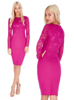 Goddess Magenta Long Lace Sleeve Bengaline Fitted Cocktail Party Evening Dress