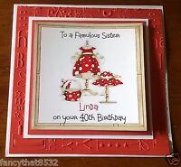 Handmade Personalised Birthday Card Dress Nanna Sister Mum Cousin Any Age 95th
