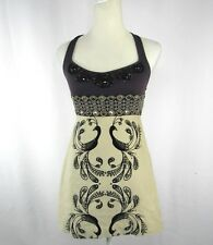 Free People Women Size 0 Purple and Beige Beaded Peacock Dress Embroiled