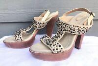 Frye JOY Studded Bone Leather Open Toe T-Strap Back Buckle Heels Size US 8.5 B