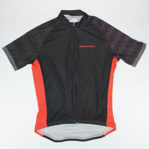 Louis Garneau Cycling Full Zip Jersey Black And Red Men's Size XL