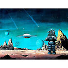 MOVIE FILM PAINTING ROBBY ROBOT FORBIDDEN PLANET SPACE STARS SCI FI USA 30x40 cm
