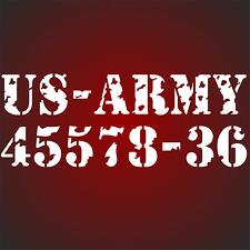 US Army Nummer mit Löschern Sterne  Aufkleber auf  Türen Hauben USA Army Zahl F