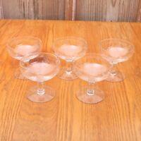 5 Clear Glass Leaf Grape Sherbets Ice Cream Bowl Sundae