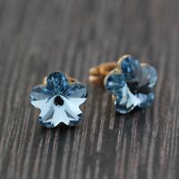 Stunning 18K Rose / White Gold Filled 10mm Element Crystal Flower Stud Earrings