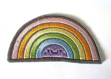 Pastel rainbow colours with a face embroidered iron on patch kawaii 90mm
