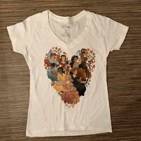 Disney Princess' Heart Shape White 100% Cotton V-neck T-Shirt Top Size Small S