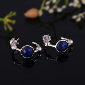 Tiny Lapis Lazuli Gemstone Hoop Earrings 925 Sterling Silver Huggie Hoops