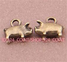 P501 15pcs Antique Bronze pig Pendant Bead Charms Accessories wholesale