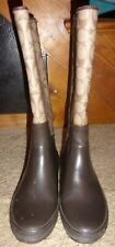 COACH WOMEN'S TALL LEATHER WEAR RAIN RUBBER BOOTS SIZE 8 # Q357 C PATTERN