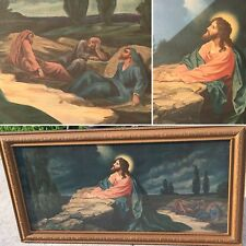 ANTIQUE 1949 GESSO CHURCH RELIGIOUS WALL HANGING JESUS CHRIST JUDAS BETRAYAL