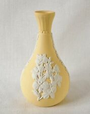 RARE Wedgwood Yellow Jasperware Miniature Vase with floral bas-relief