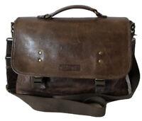 NASH by Patricia Nash Brown Genuine Leather Men's Messenger Laptop Handbag EUC