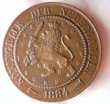 1884 NETHERLANDS 2 1/2 CENT - AU -Excellent Type - FREE SHIP - Netherlands Bin C