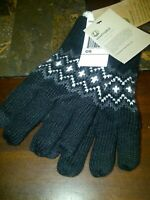 TIMBERLAND Women's OS / TU Black & White Sherpa Touch Screen Gloves FREE SHIP