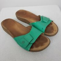 Clarks Artisan Sandals Leather Comfort Green Patent Size UK 7 D