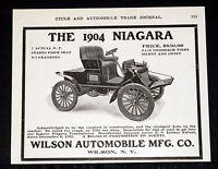 1904 OLD MAGAZINE PRINT AD, WILSON AUTOMOBILE MFG, 1904 NIAGARA, NO CRANKING!