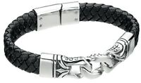 "Fred Bennett 9"" Black Leather & Stainless Steel Men's Dragon Scale Curb Bracelet"