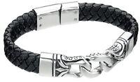 """Fred Bennett 9"""" Black Leather & Stainless Steel Men's Dragon Scale Bracelet"""