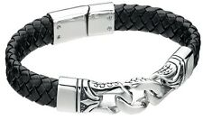 "Fred Bennett 9"" Black Leather & Stainless Steel Men's Dragon Scale Curb Bracelet"